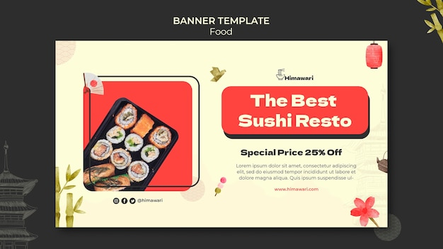 일본 음식 레스토랑 가로 배너 서식 파일
