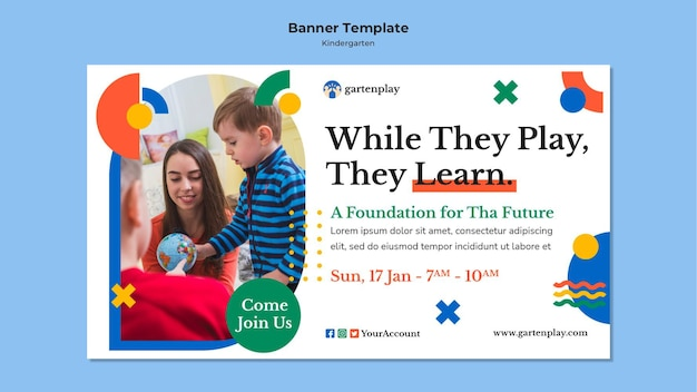 子供と幼稚園のための水平バナーテンプレート