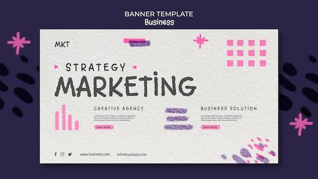 Шаблон горизонтального баннера для маркетингового агентства