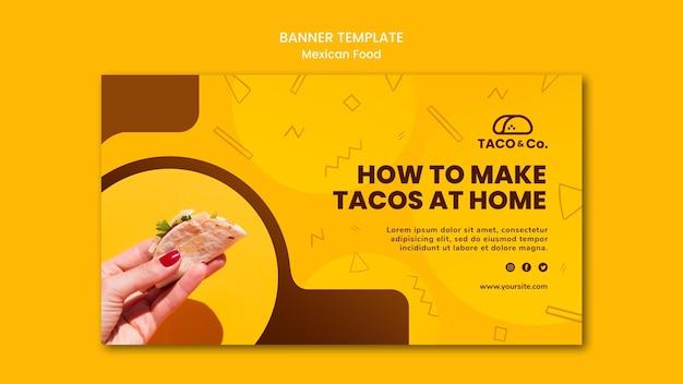 Шаблон горизонтального баннера для ресторана мексиканской кухни