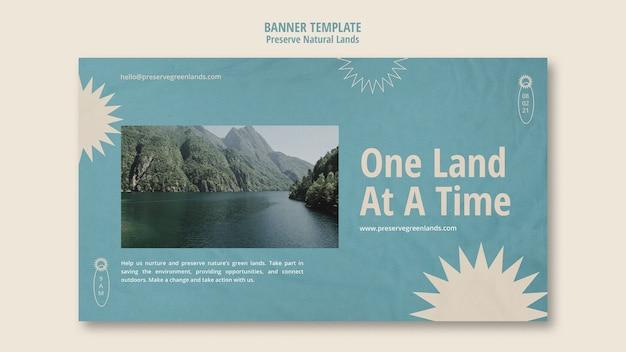 風景と自然保護のための水平バナーテンプレート