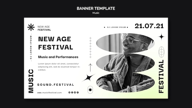 Шаблон горизонтального баннера для музыкального фестиваля нью-эйдж