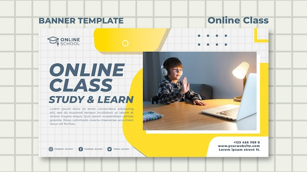 Шаблон горизонтального баннера для онлайн-занятий с ребенком