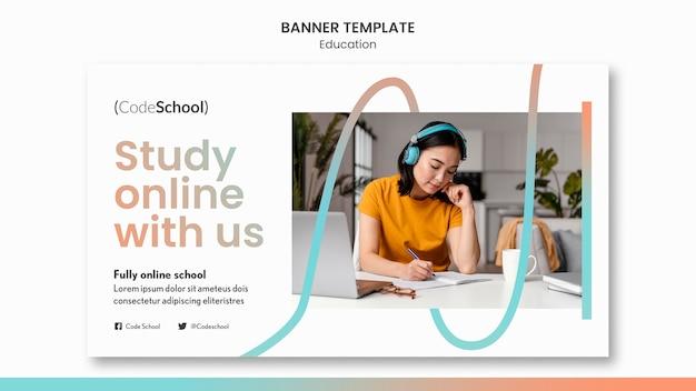 オンラインプログラミング学校の水平バナーテンプレート