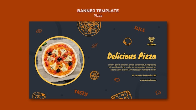 Шаблон горизонтального баннера для пиццерии