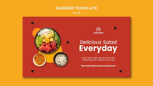 健康食品のボウルとレストランの水平バナーテンプレート