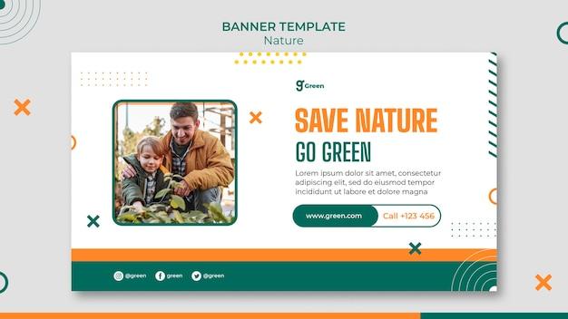 自然を保存するための水平バナーテンプレート
