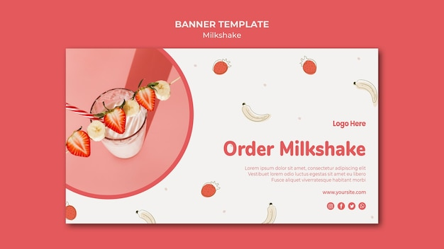 イチゴのミルクセーキの水平バナーテンプレート