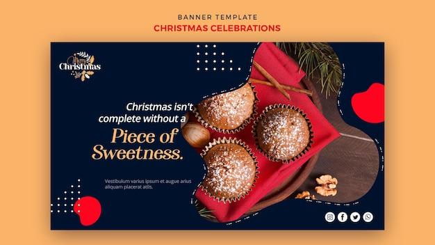 伝統的なクリスマスデザートの水平バナーテンプレート