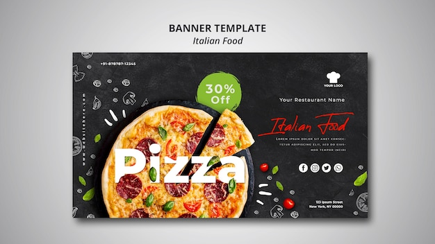 伝統的なイタリア料理レストランの水平バナーテンプレート