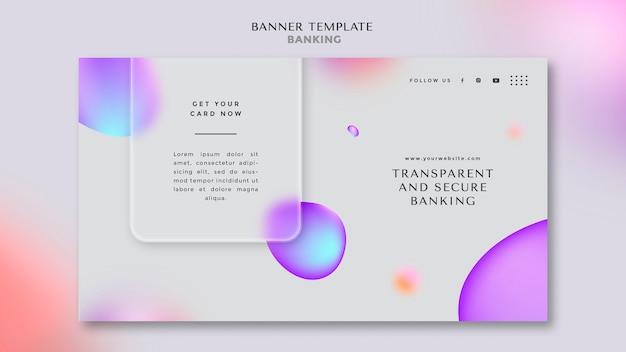 透明で安全な銀行のための水平バナーテンプレート