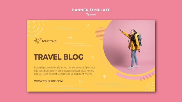 Шаблон горизонтального баннера для путешествующего блога