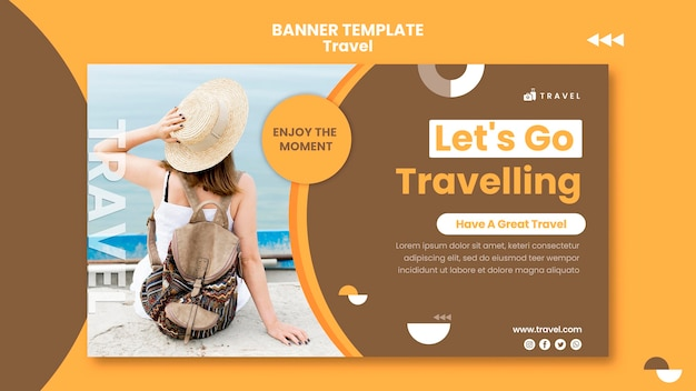 女性と一緒に旅行するための水平バナーテンプレート
