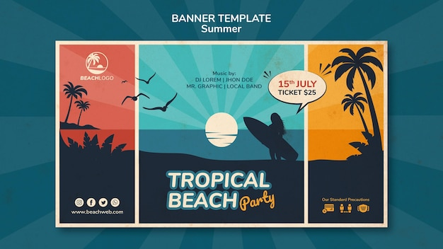熱帯のビーチパーティーの水平バナーテンプレート