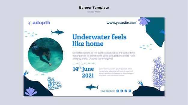 수중 스쿠버 다이빙을 위한 가로 배너 템플릿