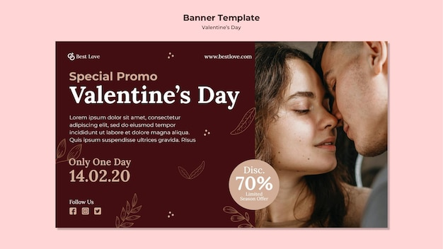 ロマンチックなカップルとバレンタインデーの水平バナーテンプレート