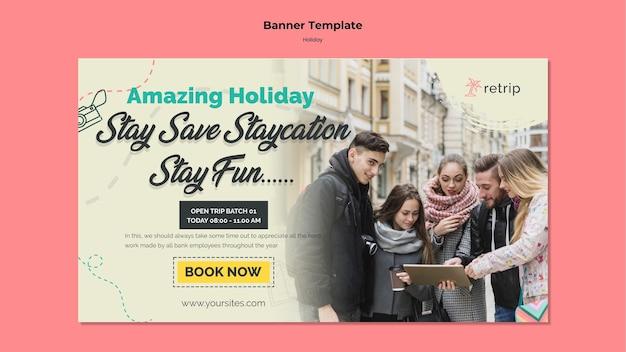 バーチャルリアリティの休日旅行のための水平バナーテンプレート
