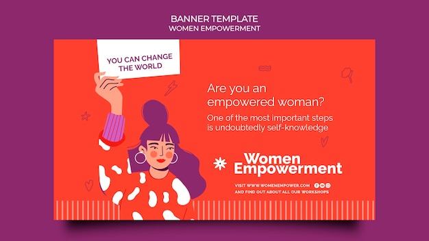 女性のエンパワーメントのための水平バナーテンプレート