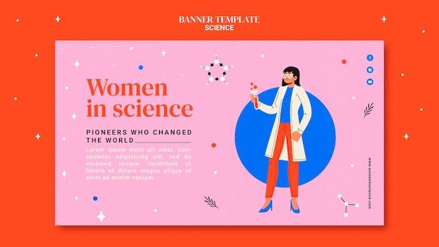 科学の女性のための水平バナーテンプレート