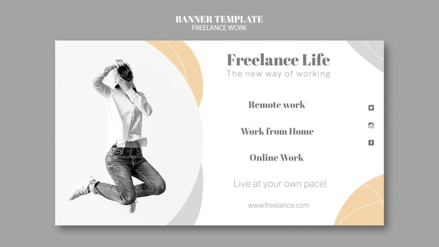 Horizontal banner template for freelance work with female photographer