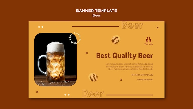 Horizontal banner template for fresh beer