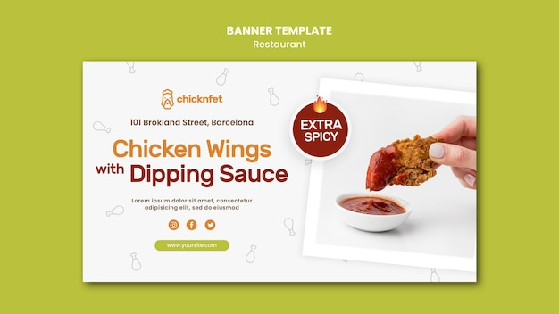 Horizontal banner template for fried chicken dish restaurant