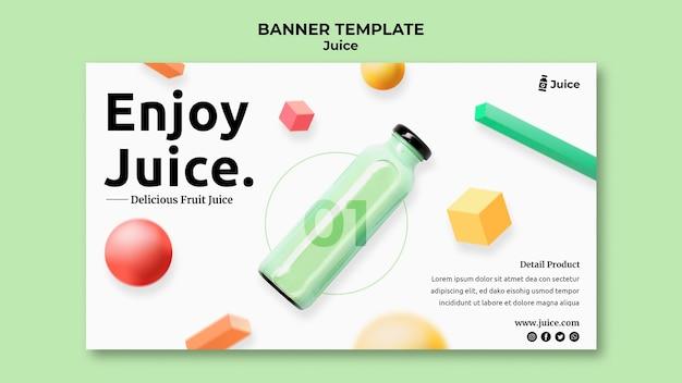 Modello di banner orizzontale per succo di frutta in bottiglia di vetro