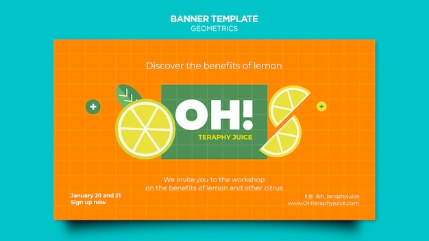 Horizontal banner template for fruit smoothies recipes