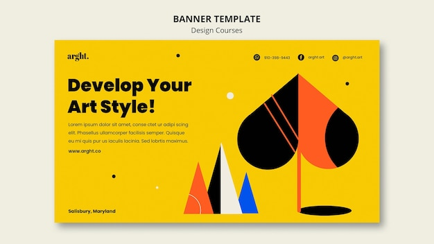 Horizontal banner template for graphic design classes