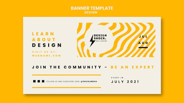 Horizontal banner template for graphic design courses