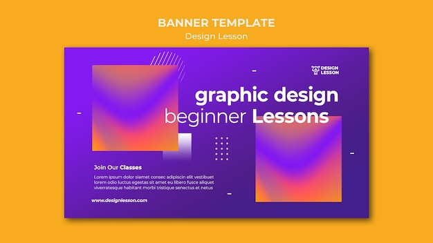 Horizontal banner template for graphic design lessons