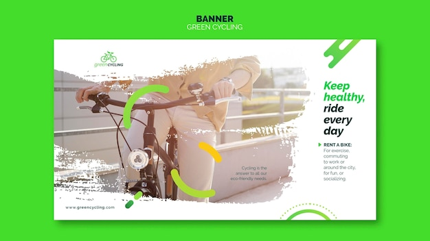 Horizontal banner template for green biking