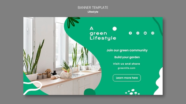 Horizontal banner template for green lifestyle with plant