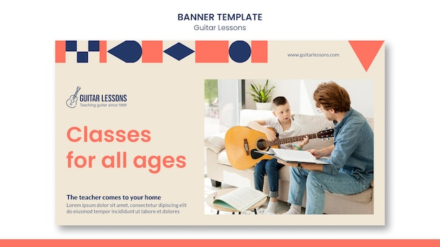 Horizontal banner template for guitar lessons