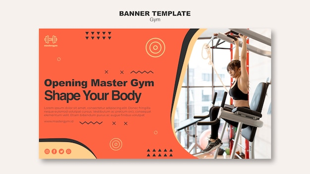 Horizontal banner template for gym activity