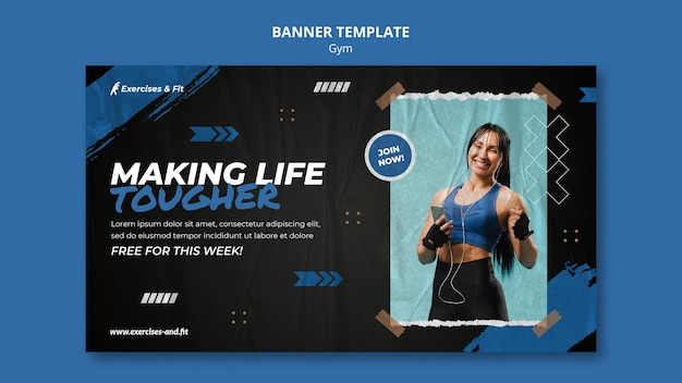 Horizontal banner template for gym with female athlete