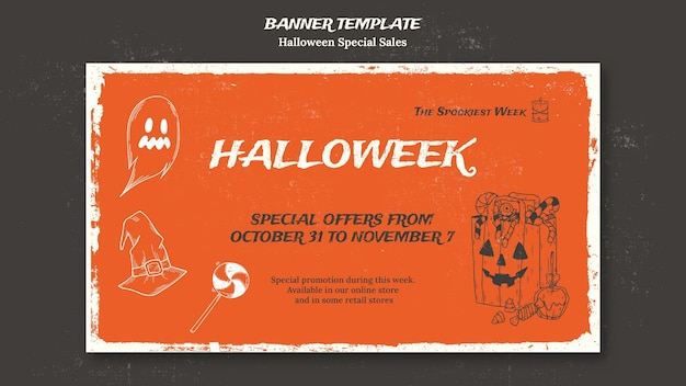 Horizontal banner template for halloweek