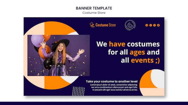 Horizontal banner template for halloween costumes