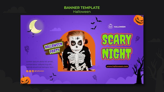 Horizontal banner template for halloween with kid in costume