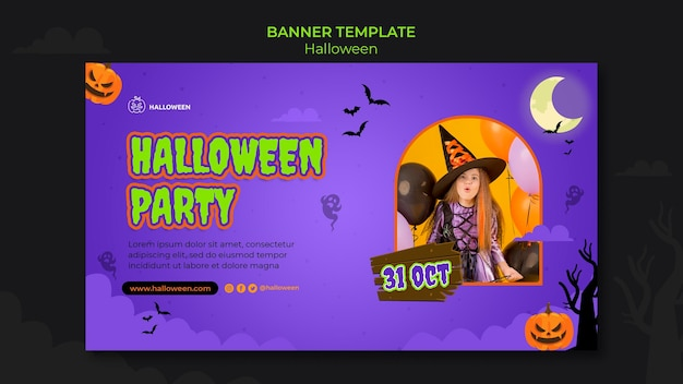Modello di banner orizzontale per halloween con bambino in costume