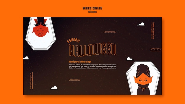 Horizontal banner template for halloween with vampire in coffin