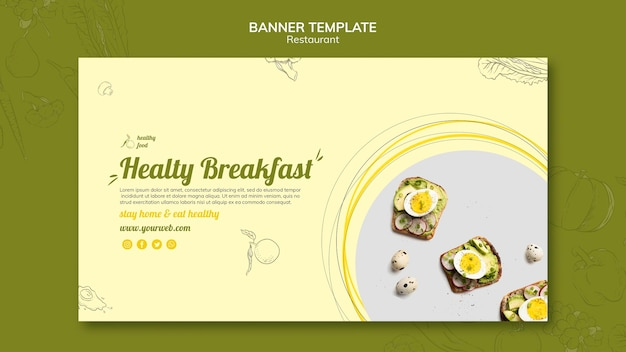 Horizontal banner template for healthy breakfast with sandwiches