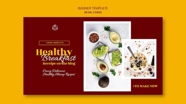 Horizontal banner template for healthy food recipes blog