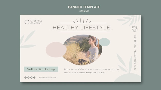 Modello di banner orizzontale per un'azienda di stile di vita sano Psd Gratuite