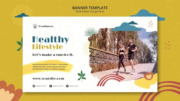 Horizontal banner template for healthy lifestyle