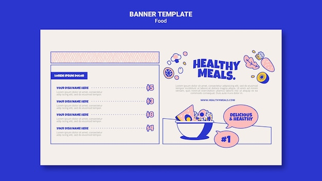 Horizontal banner template for healthy meals