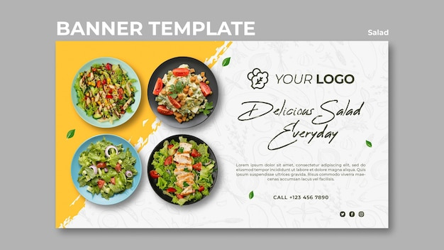 Horizontal banner template for healthy salad lunch