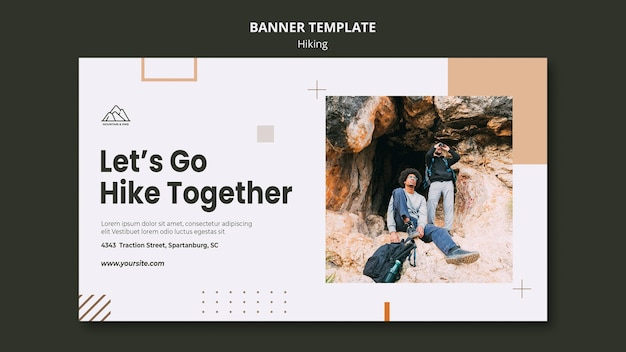Horizontal banner template for hiking in nature