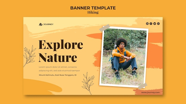 Horizontal banner template for hiking