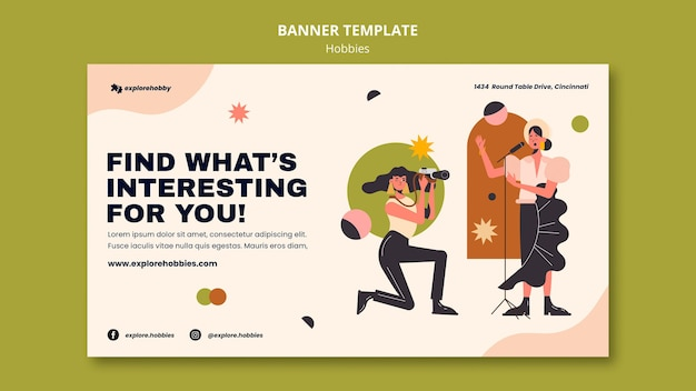 Horizontal banner template for hobbies and passions